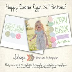 Happy Easter Eggs 5x7 Flat Postcard Template by caseysnyderdesigns, $8.00 Simple Spring Blessings Photo Card Template by caseysnyderdesigns, $8.00  photos by Cindy Lottes Photography