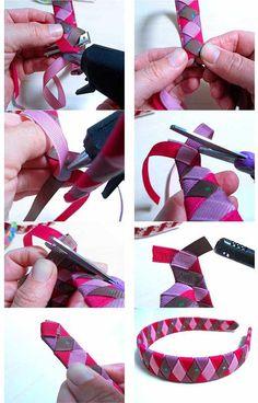 cinta Ribbon Headbands, Cute Headbands, Ribbon Hair Bows, Ribbon Work, Fabric Ribbon, Hair Bow Tutorial, Headband Tutorial, Diy Headband, Headband Hairstyles