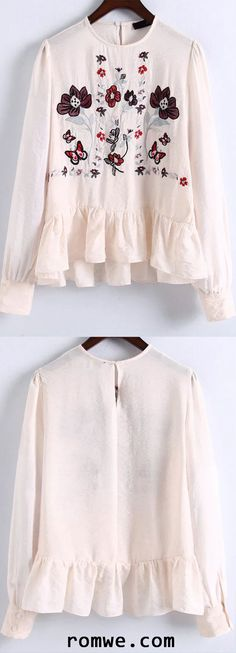 Beige Flower Embroidery Ruffle Hem Blouse