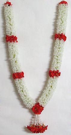 White Jasmine Flower Garland with Red Flowers (Synthetic) Indian Wedding Flowers, Flower Garland Wedding, Rose Petals Wedding, Floral Garland, Indian Wedding Decorations, Flower Garlands, Flower Decorations, Wedding Garlands, Wedding Titles