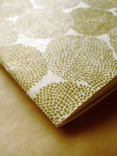 Large Notebook with yummy moss / chartreuse green round floral print patterns.