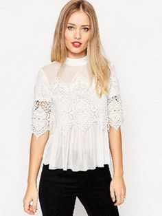 2016 spring and summer Woman lace shirt Hollow Fashion Casual short-sleeved cotton blouses Shirt female solid Floral lace Tops Black Lace Blouse, Sexy Blouse, Ruffle Blouse, Crochet Blouse, Chiffon Blouses, Chiffon Tops, Lace Chiffon, Lace Tops, Cotton Blouses