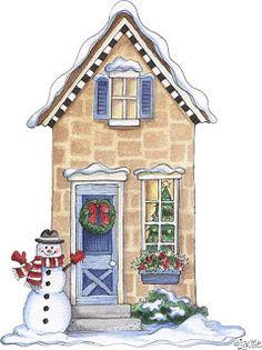 Christmas House Drawings Printable-Stock and drawings to print Christmas Villages, Christmas Scenes, Christmas Home, Vintage Christmas, Christmas Crafts, Xmas, Christmas Ornaments, Christmas Mantles, Victorian Christmas