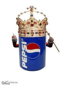"Melissa Trahin: This is an example of a visual pun because the pepsi can and the crown form a new meaning intended to be humorous. I am able to interpret this picture as ""The king of pop"" due to my prior knowledge of each individual product. Coca Cola, Corny Puns, Visual Puns, Carbonated Drinks, Mountain Dew, Dr Pepper, Reasons To Smile, I Love To Laugh, Brighten Your Day"