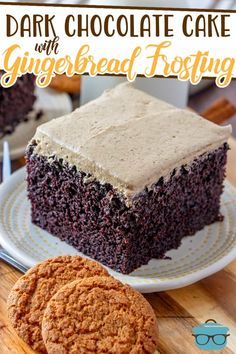 This Homemade Dark Chocolate Cake with Gingerbread Frosting is so moist and deliciously decadent! The perfect holiday dessert! Best Chocolate Desserts, Dark Chocolate Cakes, Homemade Desserts, Easy Desserts, Holiday Desserts, Beautiful Chocolate Cake, Gingerbread Frosting, Cake Recipes, Dessert Recipes