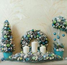 Christmas Tree Wreath, Christmas Gift Decorations, Xmas Wreaths, Blue Christmas, All Things Christmas, Winter Christmas, Christmas Crafts, Holiday Decor, Fall Planters