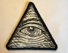"""EYE OF PROVIDENCE - SEW ON embroidered PATCH - size 2.5"""" X 2.5"""" inches PYRAMID ILLUMINATI MASONIC symbols - the all seeing eye of god annuit coeptic egyptian egypt secret society soceties us"""