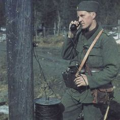 Swedish soldier somewhere in Sweden probably around 1943-1944. Wearing the new standard uniform m/39. Wartime coloured photography. Pin by Paolo Marzioli