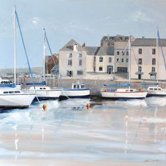 Still Harbour - Canvases - Judi Trevorrow - Cornwall Art Galleries Seaside Theme, I Love The Beach, Coastal Art, Fishing Villages, Beach Art, Cornwall, Framed Artwork, Art Gallery, Galleries