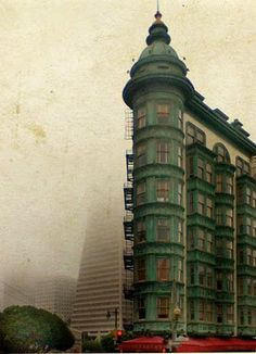 from cobaltika's blog:  San Francisco, old building, flanked by the pyramid disappearing into the fog