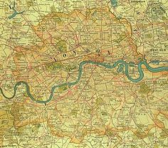 Photograph:A map of London shows how the city appeared at the turn of the 20th century. The metropolis, then the heart of a vast empire, sprawled outward from the communications artery of the River Thames. Grueling labor at its docks generated wages for immigrants living in Stepney, Bethnal Green, West Ham, Rotherhithe, and other East End neighborhoods that contrasted sharply with such wealthy West End districts as Mayfair and Kensington.