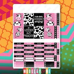 3 Sheets of Dancing Cow Planner Stickers for your Vertical Erin Condren Life Planner, or any planner! by MoogleyandMe on Etsy