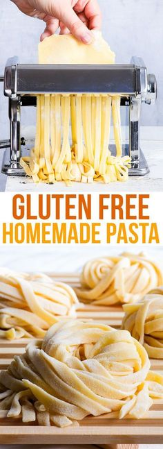 A simple and reliable homemade gluten free pasta recipe. Once you've tasted this gluten free pasta from scratch, you'll never go back to the store-bought stuff.Homemade Gluten Free Pasta ** CLICK PIN TO LEARN MORE! No Dairy Recipes, Gf Recipes, Foods With Gluten, Pasta Recipes, Cooking Recipes, Healthy Recipes, Dinner Recipes, Salad Recipes, Dinner Ideas