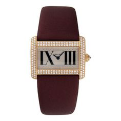 Cartier Tank Divan Diamond Mini Ladies Watch ($18,900) ❤ liked on Polyvore featuring jewelry, watches, water resistant watches, cartier jewellery, buckle watches, roman numeral watches and cartier watches