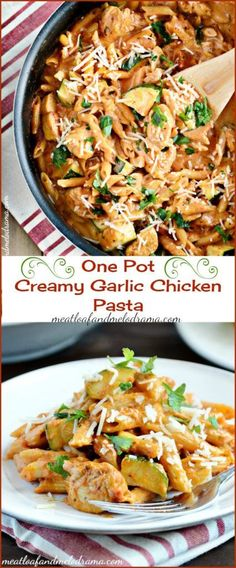 One Pot Creamy Garlic Chicken Pasta -- This easy chicken dinner combines pasta, chicken tenders and zucchini in a creamy garlic tomato sauce and takes just 30 minutes to make! Clean-up is fast too!