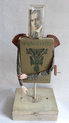 Altered Antique Book Automata Assemblage Sculpture by Bibliomaton
