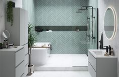 Home Interior Living Room Herringbone tile pattern and marble bathroom Interior Living Room Herringbone tile pattern and marble bathroom Ensuite Bathrooms, Dream Bathrooms, Beautiful Bathrooms, Blue Bathrooms, Bathroom Tiling, Bathroom Design Small, Bathroom Interior Design, Modern Bathroom, Grey Marble Bathroom