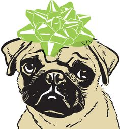5 Letterpressed Notecards  Pug with Bow by drenculture on Etsy, $18.00