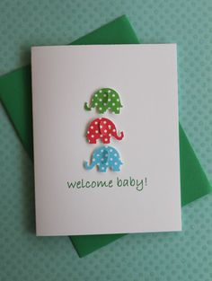 Handmade Baby Congratulations Baby Shower New Baby Welcome Baby Boy Gift Card 3D Blue Green Red Polka Dots Elephants on White Cardstock via Etsy