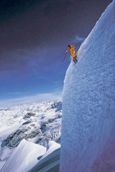 Extreme skiing in Wyoming.