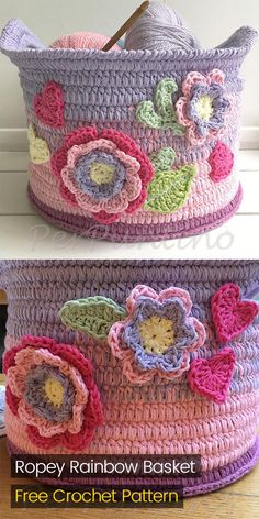 Ropey Rainbow Basket Free Crochet Pattern #crochet #crafts #homedecor #handmade #homemade #style #ideas #basket