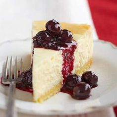 Blueberry-Topped Lemon Cheesecake, features a luscious fresh blueberry sauce on creamy lemon cheesecake. More lemony desserts: http://www.midwestliving.com/food/desserts/lemon-recipes/page/5/0