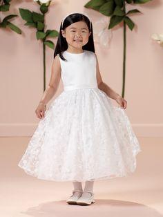 33d8c038b7a Sleeveless satin and lace tea-length A-line dress with jewel neckline