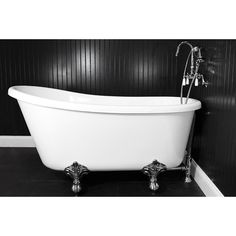 This 58 inch Swedish slipper style tub features an extra deep design  clawfoot on a raised platform Always wanted one of these