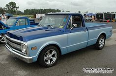 Blue Chevy Pickup Midnight And Sandstone Two Tone Paint Combined With A Cowl
