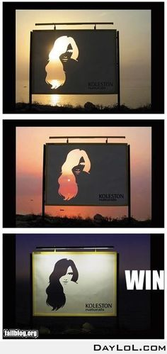 Advertising. Clever Print Ad. Koleston Naturals. Billboard - sunrise and sunset allow a 'blonde', a 'redhead' and a 'brunette' to come through, throughout the day.