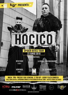 Hocico Vuelve a M?xico con su Spider Bites Tour 2018. por Sandra Fuentes Enlace  https://www.rockerosvip.com/conciertos/2018/6/23/hocico-vuelve-a-mxico-con-su-spider-bites-tour-2018