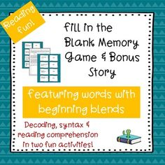 Students must match words with beginning blends to fill-in-the-blank sentences…