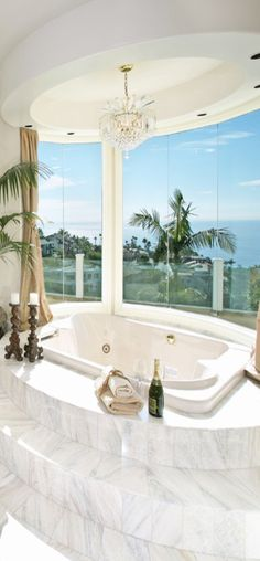 Stunning #marble #bathroom with amazing view from Houzz.