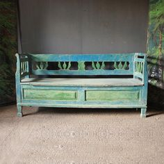 Click to close image, click and drag to move. Use arrow keys for next and previous. Woodlands Cottage, Folk Decor, Wooden Sofa, Cabin Decor, Boho Decor, Box Bed, Bench With Storage, Bench, Blue Paint