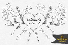 This big holiday set of 67 Valentine's day design elements includes hearts, birds, arrows, branches, laurels, ribbons and other elements. This set also included 4 vector seamless patterns: 2 in black&white and 2 in pink color pallets. All this elements drawn by hand and then converted to vector objects. With this amazing handsketched set you can create your unique Valentine or wedding design. This collection perfect for weding invitations, Valentine's day card, branding, web desi...