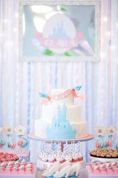 Beautiful Cinderella Princess themed birthday party via Kara's Party Ideas KarasPartyIdeas.com #princessparty  Invitations, cake, cupcakes, decor, and more!