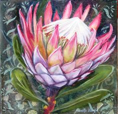 Great Flower Supply Expert Services Available Online I Love To Paint Proteas Acrylic Flowers, Watercolor Flowers, Watercolor Paintings, Oil Paintings, Protea Art, Protea Flower, Fabric Artwork, South African Artists, Ceramic Flowers