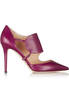 Heel measures approximately 100mm/ 4 inches Plum leather Buckle-fastening straps Designer color: Dark Orchid