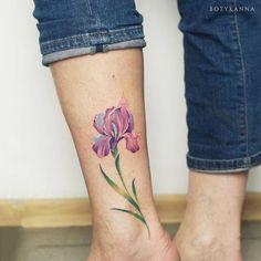 Iris Flower Tattoo by Anna Botyk