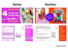 Vorher <-> Nachher: Optimierung der #Abowerbung für die #Zeitschrift Stricktrends: #Werbemittel: DinLang-Karte, Heftwerbung, Angebot: #Jahresabo mit Preisvorteil, Response-Aktivierung über Coupon/Karte, Deeplink und QR-Code I © Montana Medien, Hamburg - November 2013 I Bestellen Sie #Stricktrends unter: www.wunsch-abo.de/stricktrends #Direktmarketing, #Print, #Verlage, #CRM, #Abo-Marketing, #OZ-Verlag, #Montana Medien BERATUNG + #AGENTUR