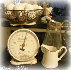 Old scale and pitchers