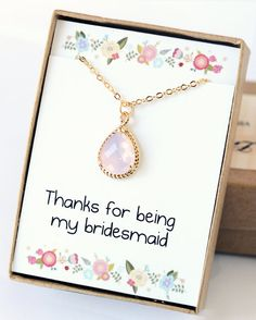 Pink Bridesmaid Necklace Bridesmaid Jewelry Wedding by LimonBijoux