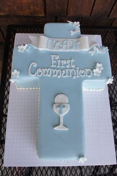 Tiffany blue cross shaped Communion cake