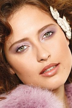 Pops Of Purple; Bridal Make-Up How To (BridesMagazine.co.uk) Think vibrant lilac eyes and fresh, glowing skin with flushed cheeks and soft-pink lips to finish the look