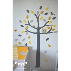 ON COMMAND - Owl tree and small bird decals - yellow gray white - deco . Yellow Tree, Grey Yellow, Decoration Creche, Monkey Room, Owl Tree, Owl Bird, Wishes For Baby, Reno, Kids Corner