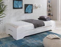 Stapelbett Gästebett Bett 90x200 Kiefer massiv weiss zwei Einzelbetten in Möbel & Wohnen, Möbel, Betten & Wasserbetten   eBay