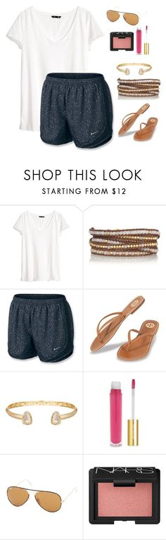 Untitled #77 by rutholiviaaa ❤ liked on Polyvore featuring H&M, Chan Luu, NIKE, Tory Burch, Kendra Scott, Isaac Mizrahi, Ray-Ban and NARS Cosmetics