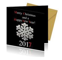 Maak zelf de leukste happy new year kaarten. Een kerstkaart met een sneeuwvlok met de beste wensen voor het nieuwe jaar.