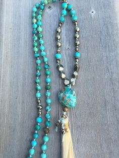 Turquoise and Cream Tassel Necklace