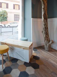 Interior designer Tommaso Guerra has designed a cat cafe named Romeow Cat Bistrot, located in Rome, Italy. Restaurant Interior Design, Commercial Interior Design, Commercial Interiors, Design Bar Restaurant, Cozy Restaurant, Home Fix, Cat Cafe, Cafe Design, Floor Design